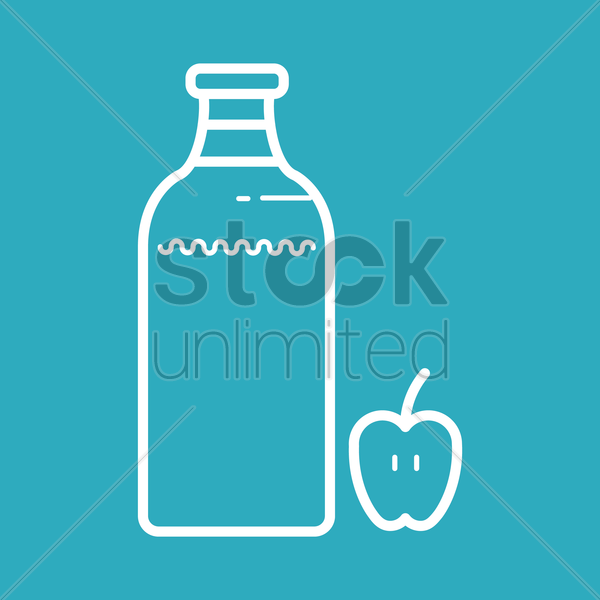 milk bottle and apple vector graphic
