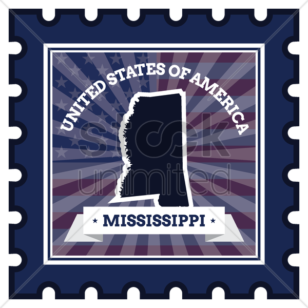 mississippi postage stamp vector graphic