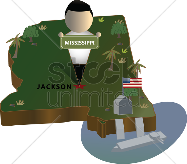mississippi state map vector graphic