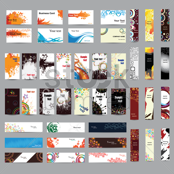 mix collection of banners and businesscards vector graphic