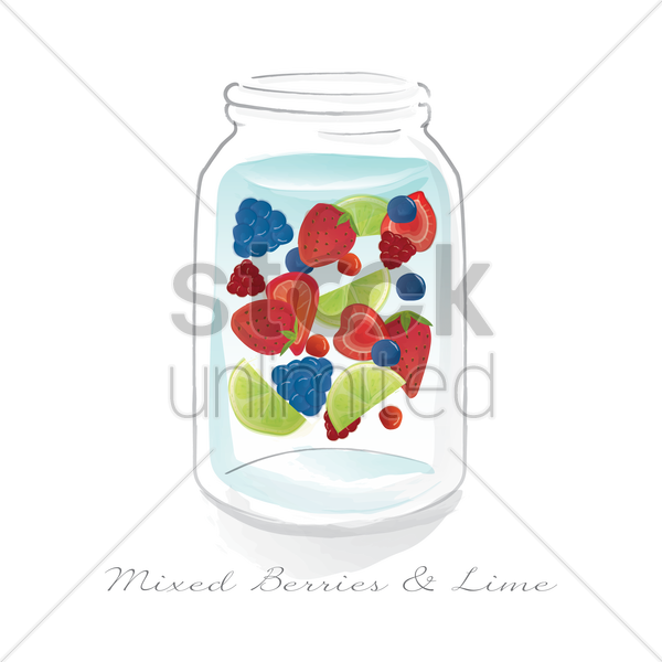 mixed berries and lime in a jar vector graphic