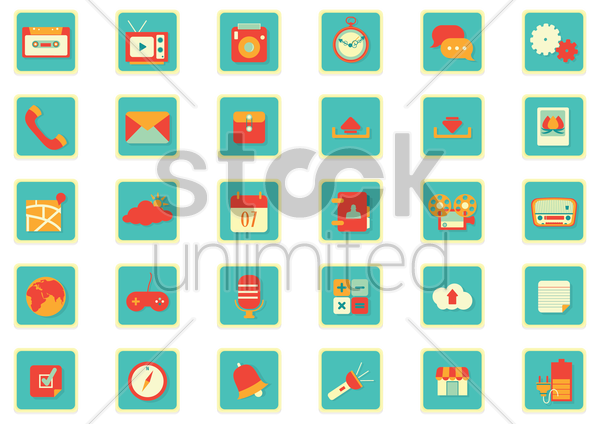 Free mobile app icon set vector graphic