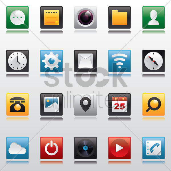 mobile app icon set vector graphic