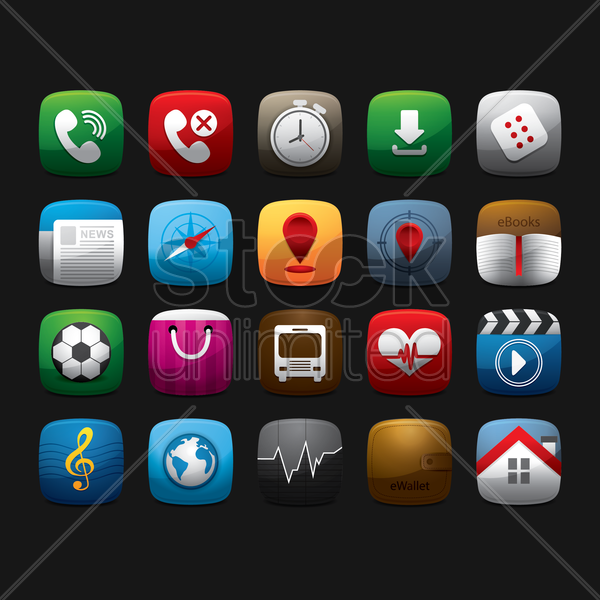 mobile app icons vector graphic