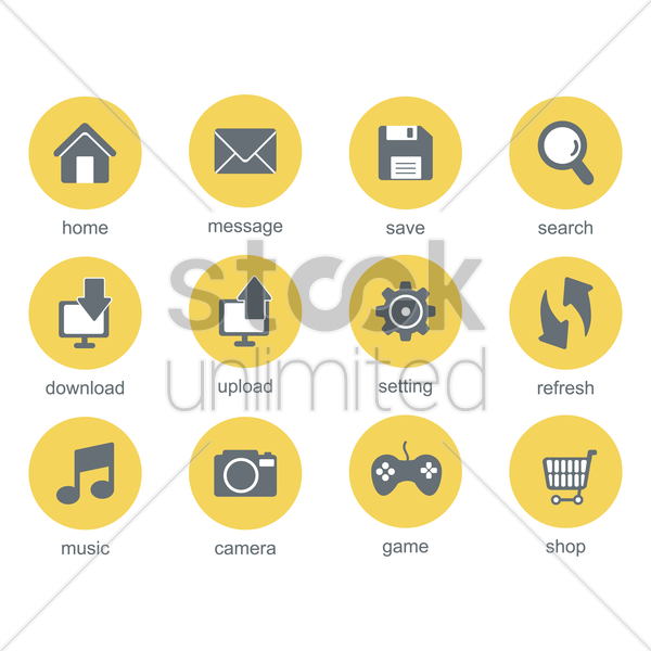 mobile application icons vector graphic