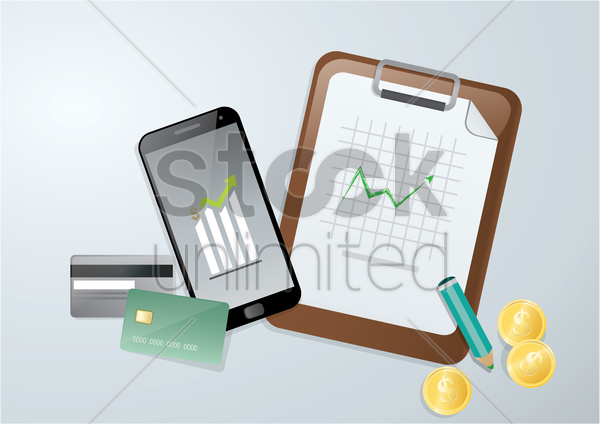 mobile banking and financial concept vector graphic