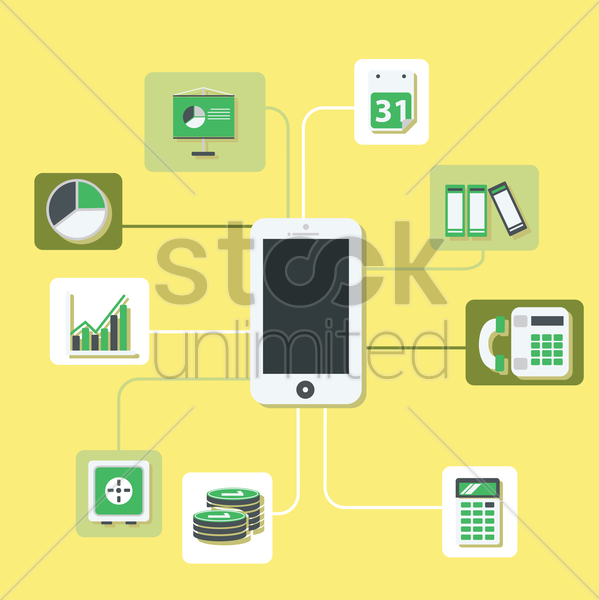 mobile banking infographic vector graphic