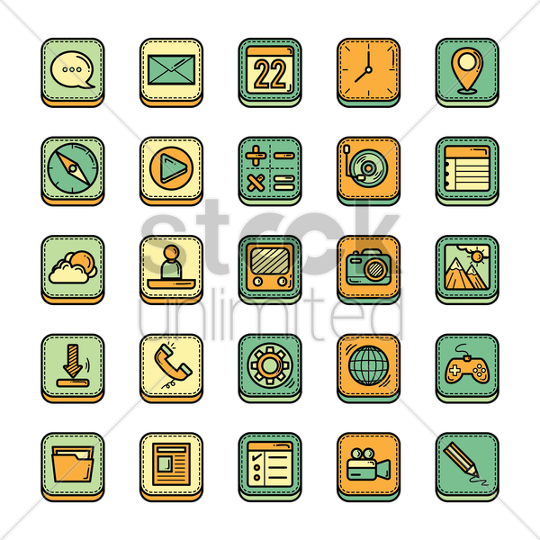 Free mobile icon set vector graphic
