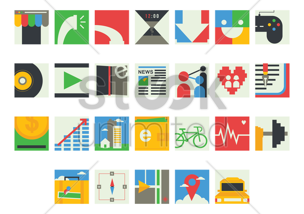 mobile icon set vector graphic