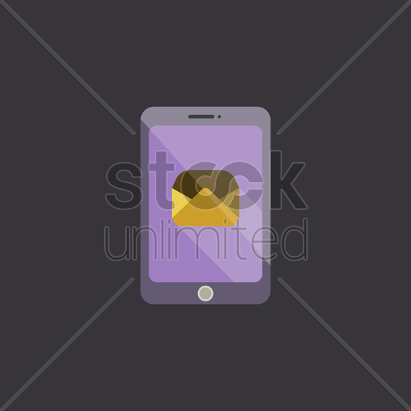 mobile phone with mail icon vector graphic