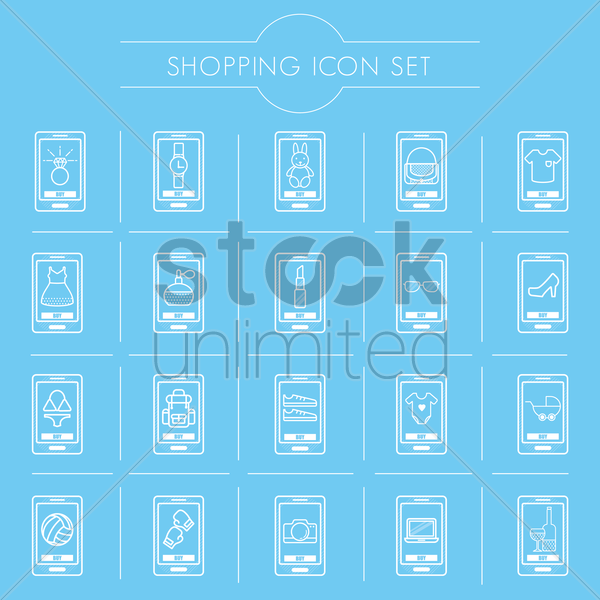 mobile shopping icon set vector graphic
