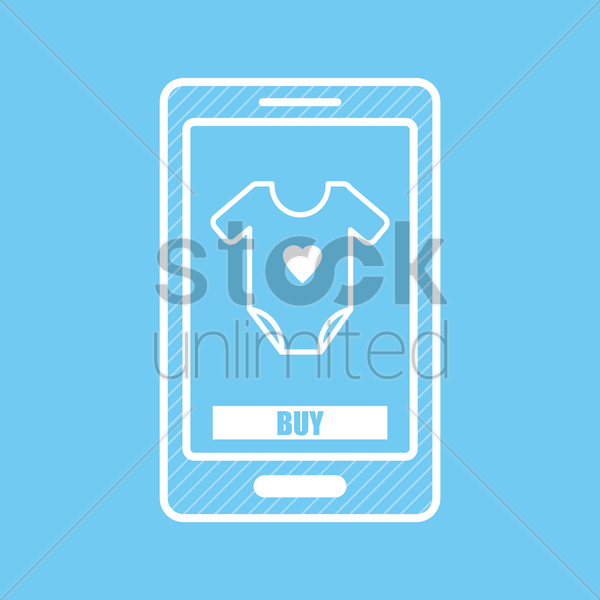 mobile shopping vector graphic