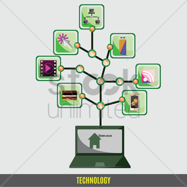 mobile,web and computer technology concept vector graphic