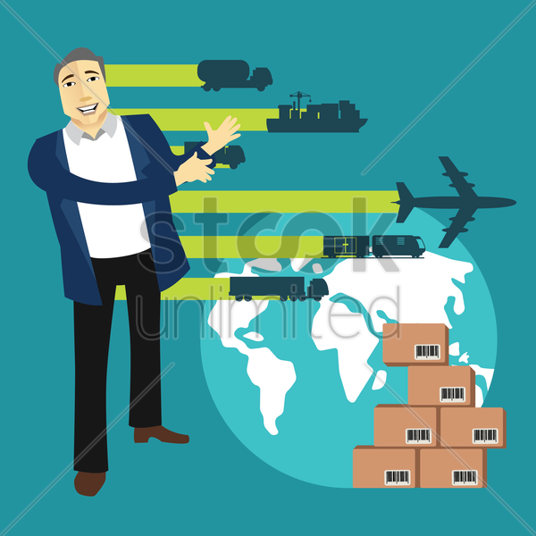 modes of delivery of parcels vector graphic