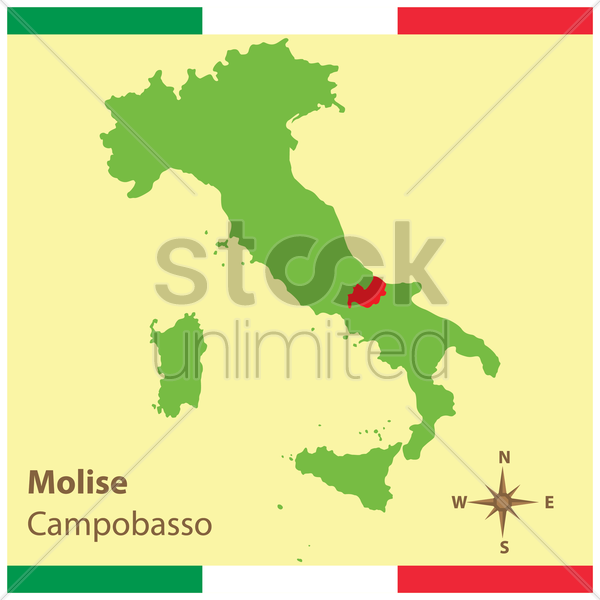 molise on italy map vector graphic