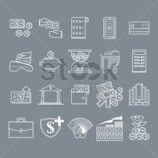 money and banking icons vector graphic