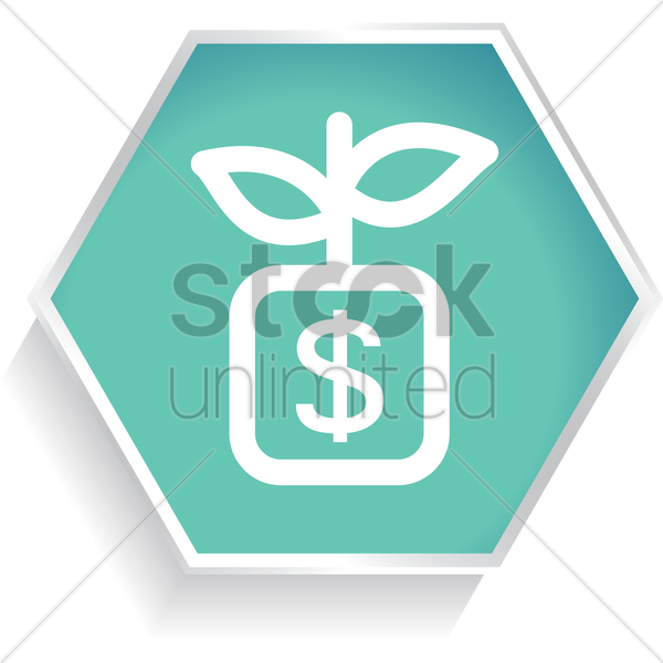 money bag with plant vector graphic