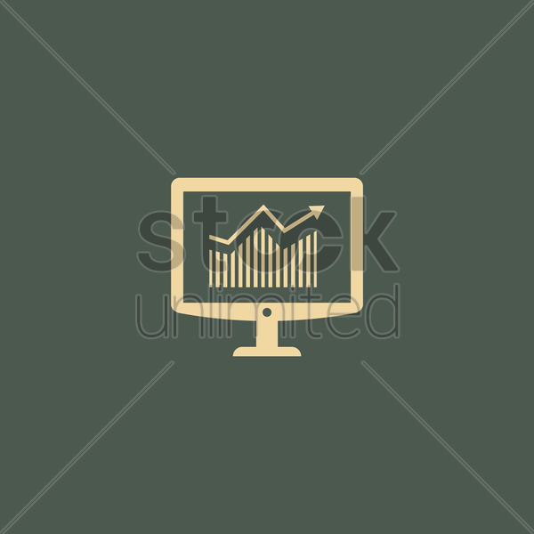 Free monitor with analysis vector graphic