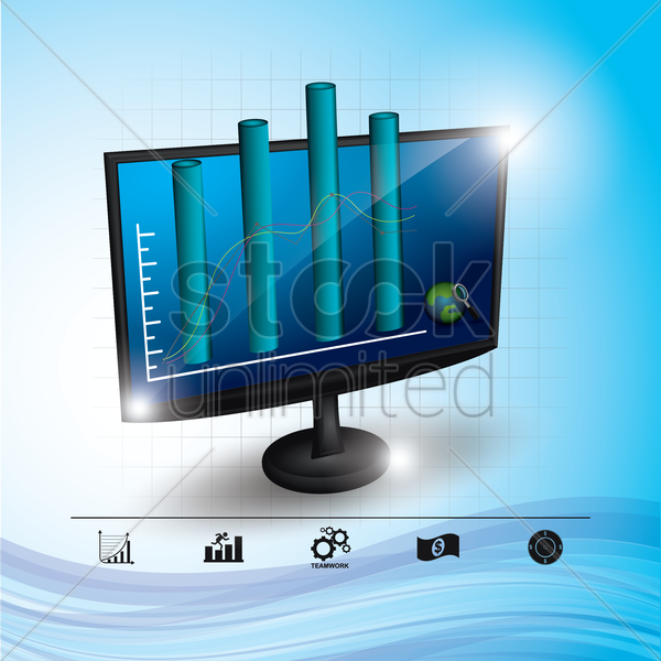 monitor with bar graph vector graphic