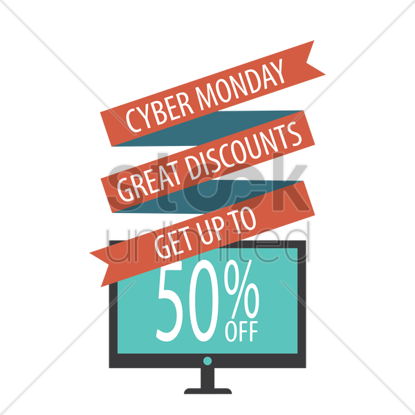 monitor with cyber monday sale design vector graphic