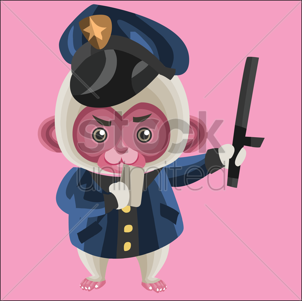 monkey as a cop vector graphic