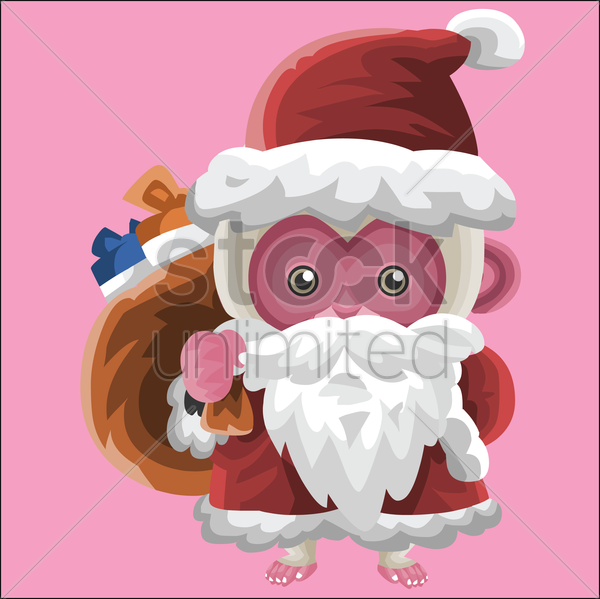 monkey as santa claus vector graphic