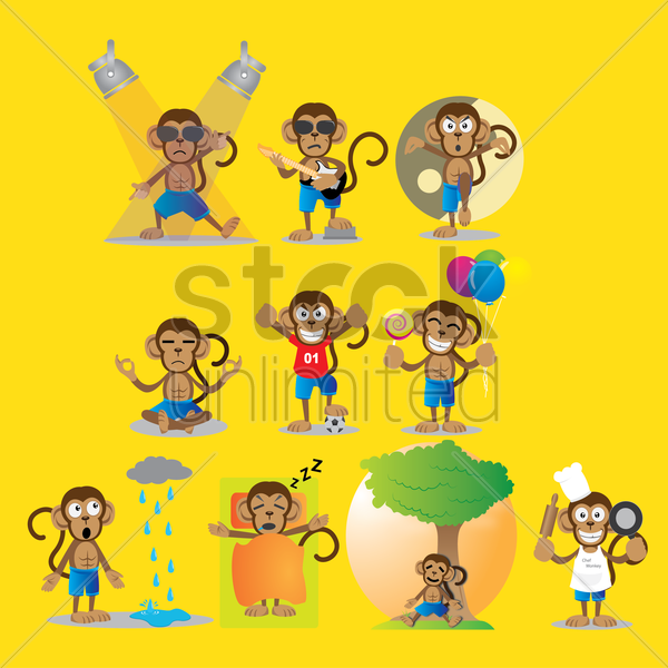 monkey with different actions vector graphic
