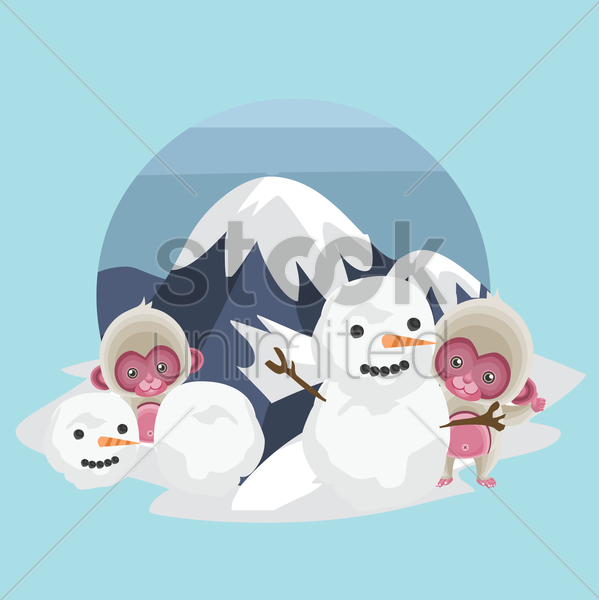 monkeys with snowman vector graphic