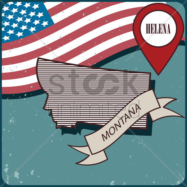 montana map label vector graphic