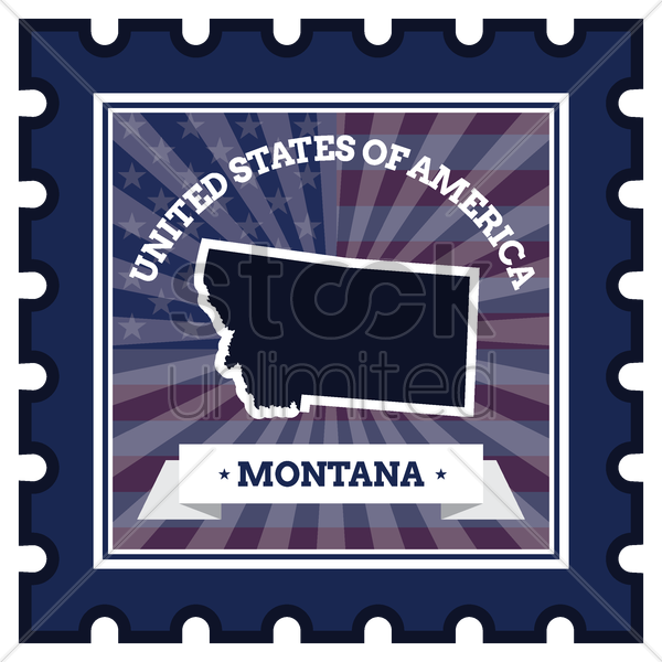montana postage stamp vector graphic
