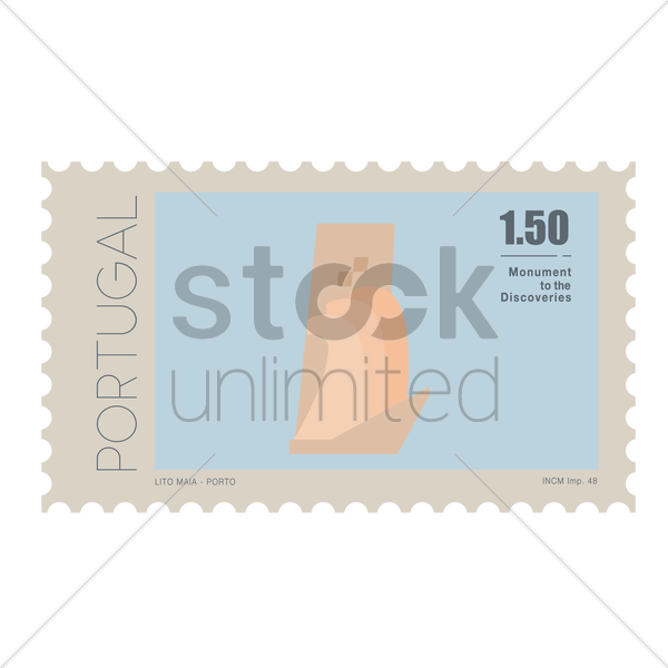 monument of the discoveries postage stamp vector graphic