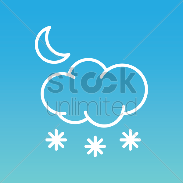 moon with cloud and snowflake vector graphic