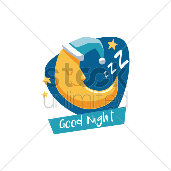 moon with good night text vector graphic