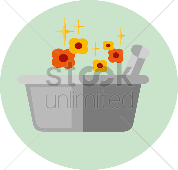 Free mortar and pestle and flowers vector graphic
