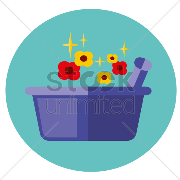 mortar and pestle and flowers vector graphic