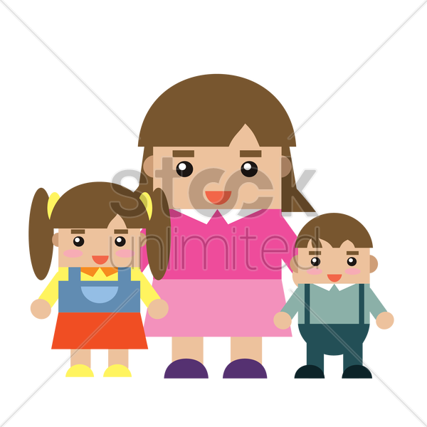 mother and children vector graphic