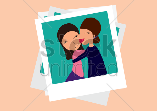 mother and daughter in a photograph vector graphic