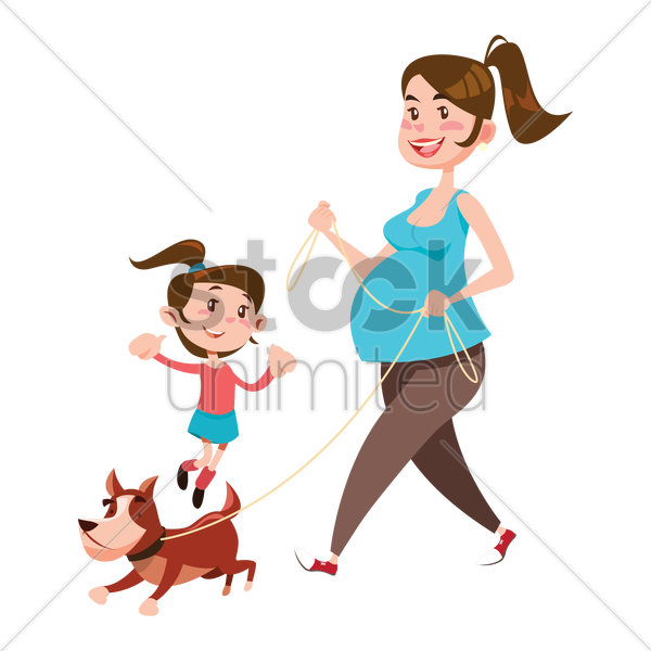 mother and daughter walking their dog vector graphic