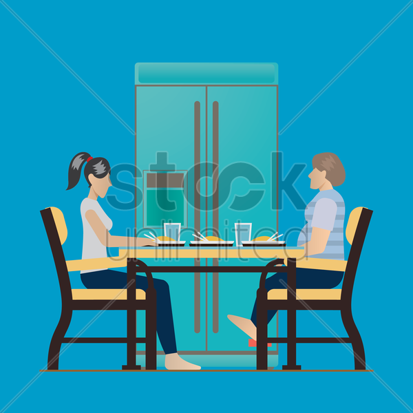 mother and grandmother eating together vector graphic