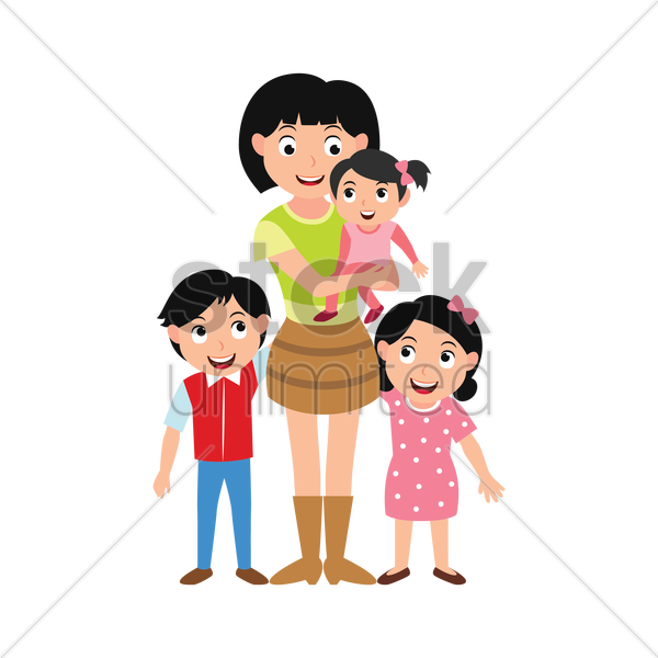 mother and kids vector graphic