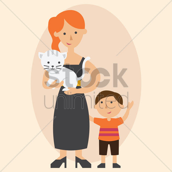 mother and son with pet cat vector graphic
