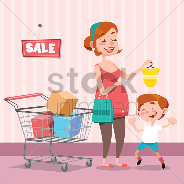 mother buying a baby romper for her baby vector graphic