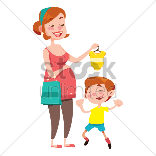 mother showing a baby romper to her son vector graphic