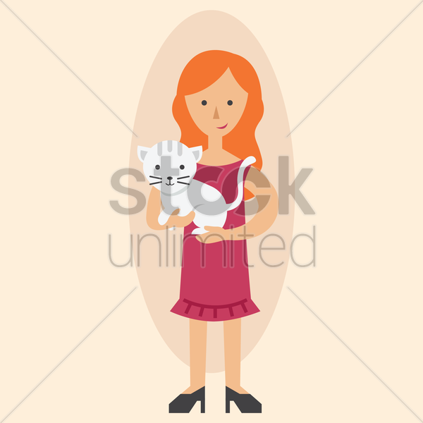 mother with a pet cat vector graphic