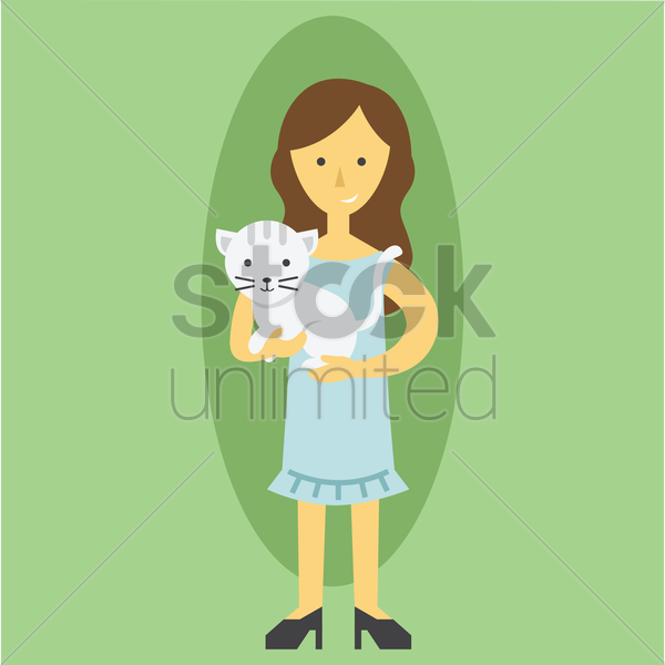 Free mother with a pet cat vector graphic