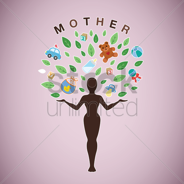 mother with baby items vector graphic