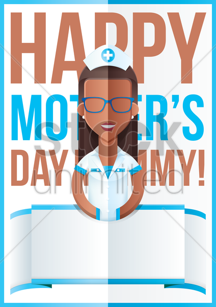 mothers day design with nurse vector graphic
