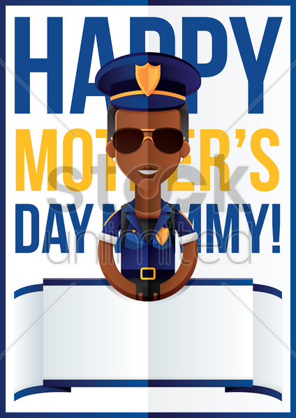 mothers day design with policewoman vector graphic