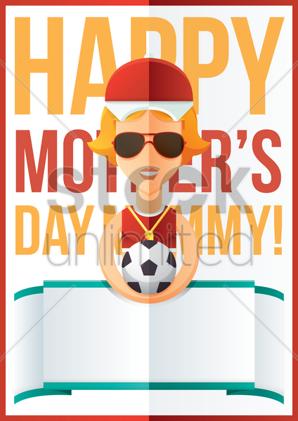 mothers day design with soccer ball vector graphic