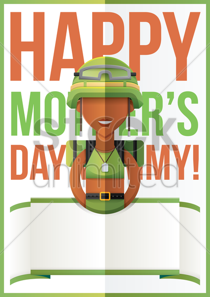 mothers day design with soldier vector graphic